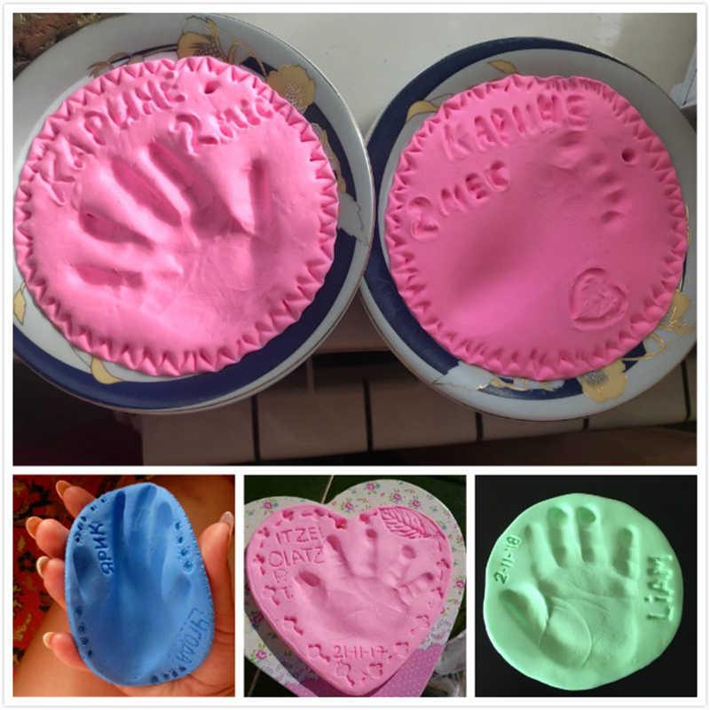 Bebê Cuidados Com o Bebê de Secagem de Ar Suave Argila Handprint Pegada Imprint Fundição Kit Pai-Filho Do Bebê Recém-nascido Mão Impressão Digital