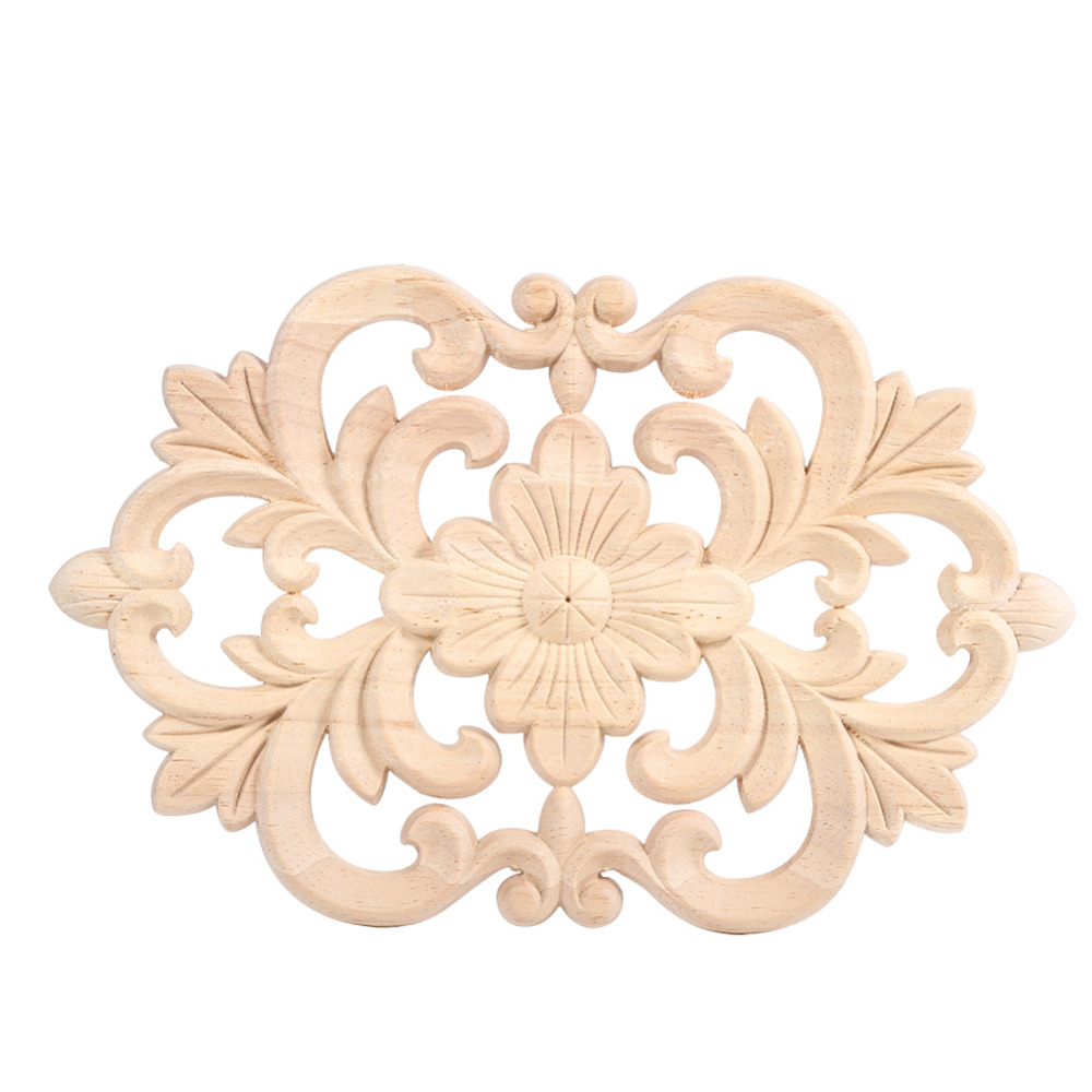 Wood carving designs furniture - 1pc New Design Wood Carved Onlay Applique Unpainted Furniture For Home Door Cabinet Decoration China