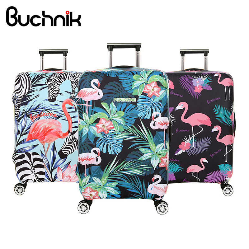 FOLPPLY Flamingo Crown Floral Be The Queen Luggage Cover Baggage Suitcase Travel Protector Fit for 18-32 Inch