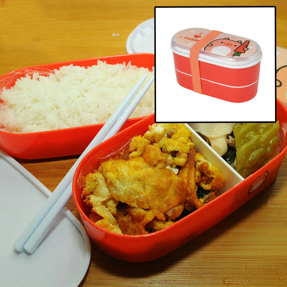 Back To School Day Portable Plastic Cartoon Food Container Healthy Lunch Box Bento Boxes Dinnerware For Students Cutlery 1pcs