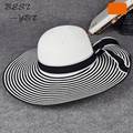 2016 New Korean version Black and white stripes summer beach cap large brimmed straw sun bucket  hat visor summer hats for women
