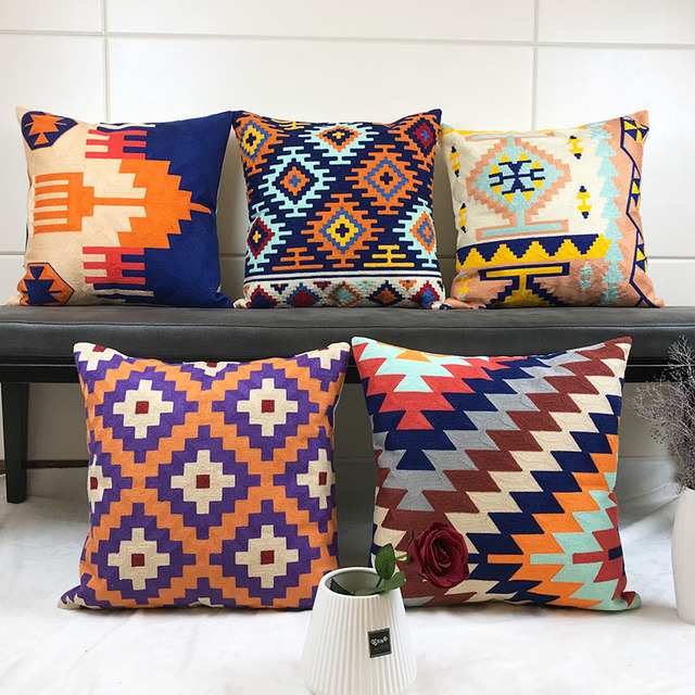 Colorful Embroidered Geometric Patterns Decorative Pillow Cover