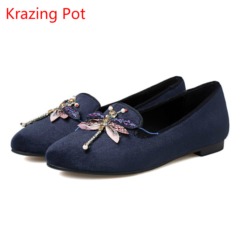 ФОТО 2017 Brand Spring Shoes Solid Gladiator Thick Heel Dragonfly Bees Round Toe Pumps Crystal Genuine Leather Grace Casual Shoes 11