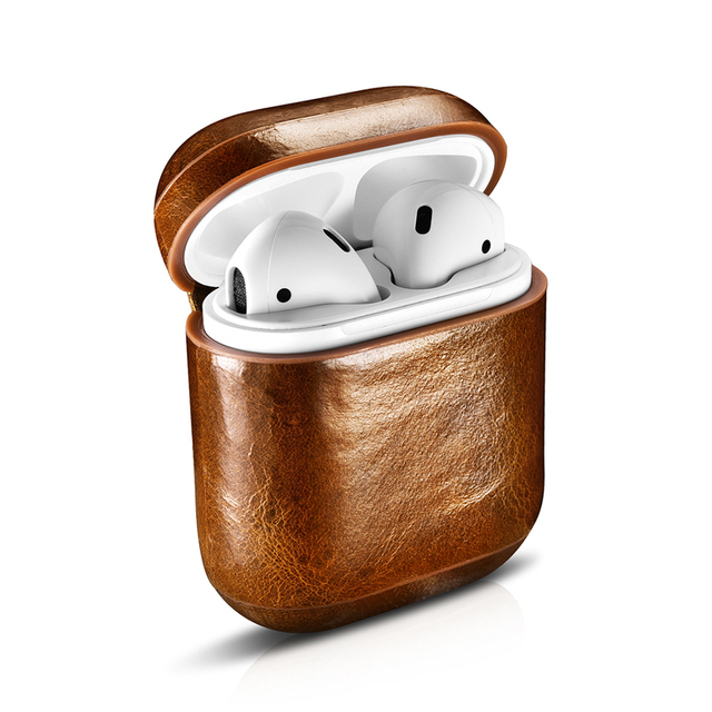 reputable site 43f8a 1ae38 US $18.16 21% OFF|icarer Case for AirPods Case Vintage Top Genuine Leather  Case for Apple Airpods Oil Wax Leather Protective Case Cover-in Phone Pouch  ...