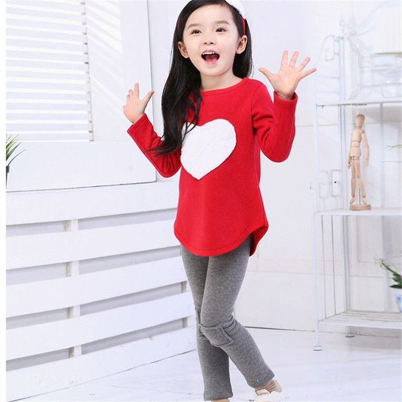 Kids clothes Suit Children clothing Girls clothes Outfit Long Sleeve Print Heart Fashion Cotton Girls clothing sets For 2-7Y 2015 new arrive super league christmas outfit pajamas for boys kids children suit st 004