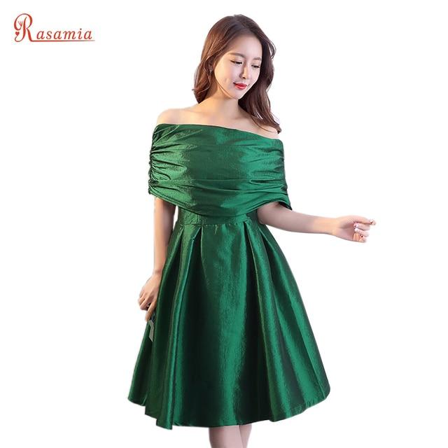 Emerald Green Party Dress Women Pleat Boat Neck Prom Dresses Short ...