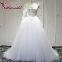 Alexzendra White Ball Gown Wedding Dresses with Long Sleeves Elegant Bridal Dresses