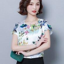 Blusa femenina de seda satinada con estampado floral para verano, camisa femenina Elegante de talla grande XXXL/4XL, color blanco, moda coreana