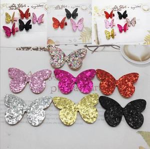 Sew on Mix Color Glitter patches for Clothes 3x5cm Padded Butterfly Shape 40pcs diy hair clip jewerly accessories