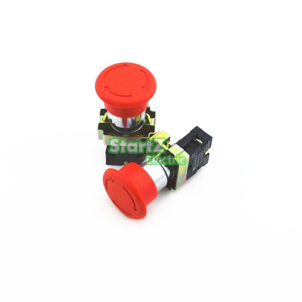 1Pcs 22mm NC Red Mushroom Emergency Stop Push Button Switch 19mm metal waterproof aluminum push button switch mushroom emergency stop button press button 19mgjt stop l s kb