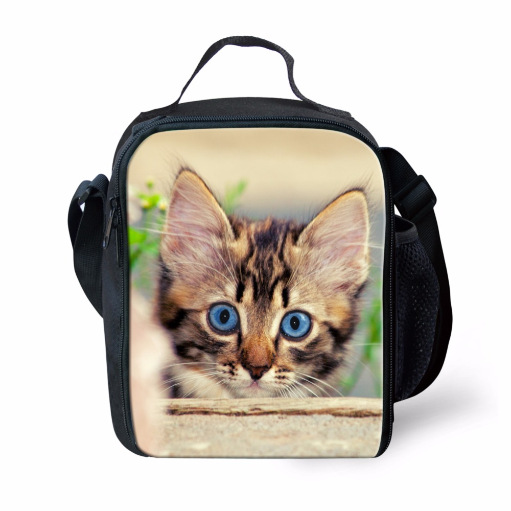 FORUDESIGNS Cat Print Picnic Bags for Adults Outdoor Animal Women Lunch Container Kids I ...