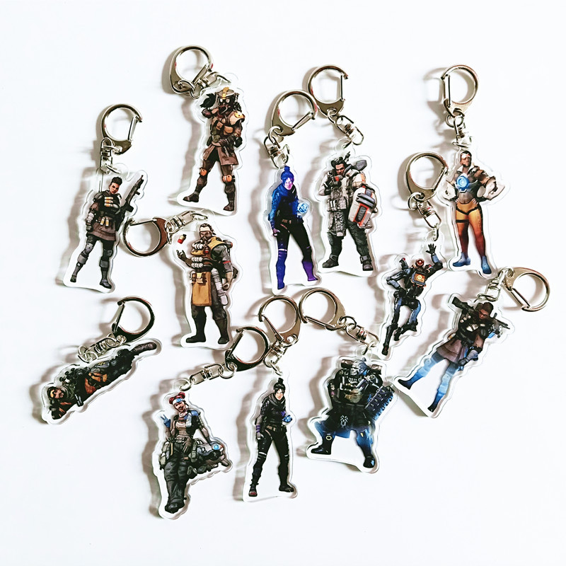 Apex Legends Acrylic Model Toys Acrylic Keychain Apex Game Accessories Action Figure Metal Key Ring Kids Xmas Gifts
