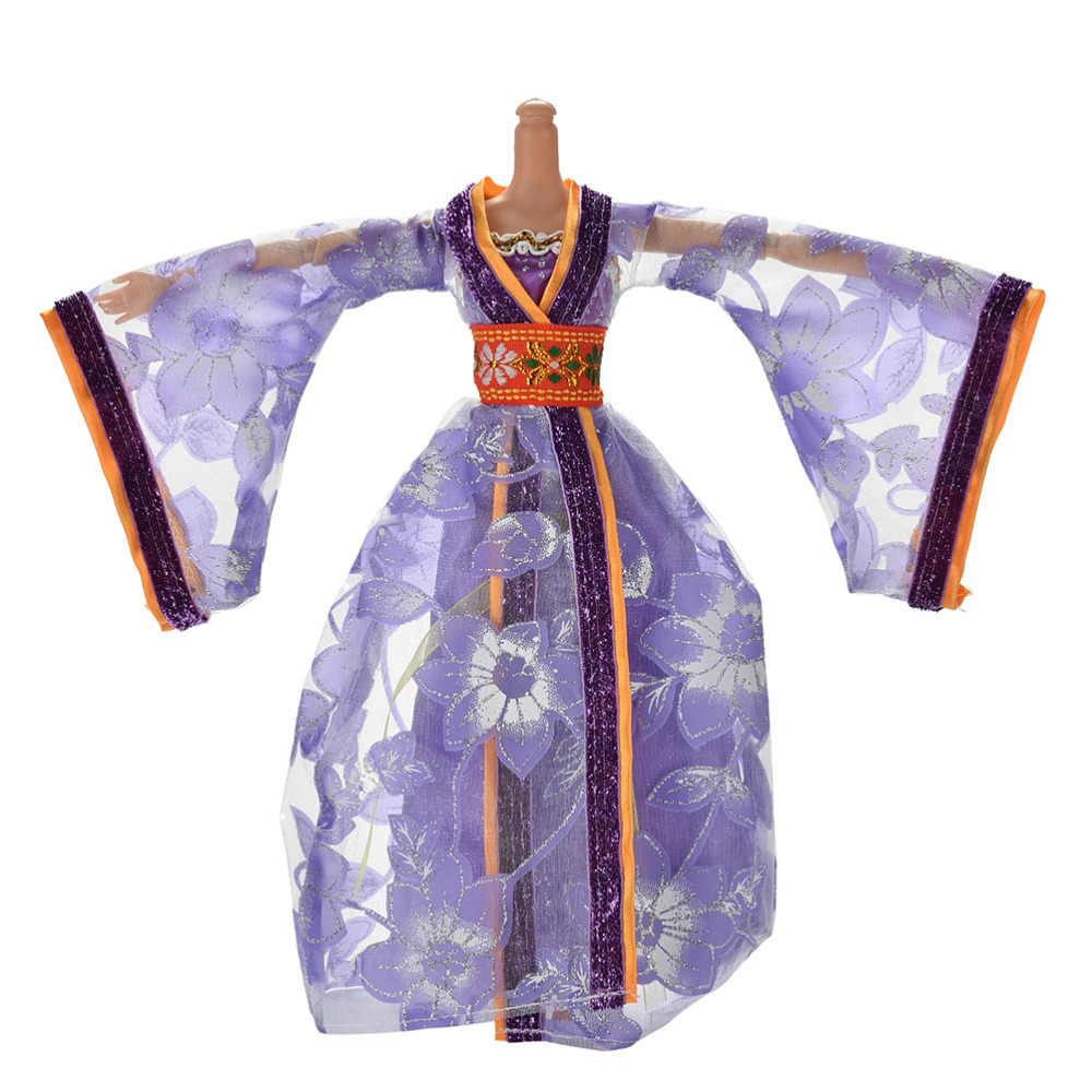 1 Pc Mooie Hanfu Pop Jurk Meisjes Mode Oude Kostuum Gown Dress Leuke Handgemaakte Kleding Chinese Nationale Stijl Accessoire
