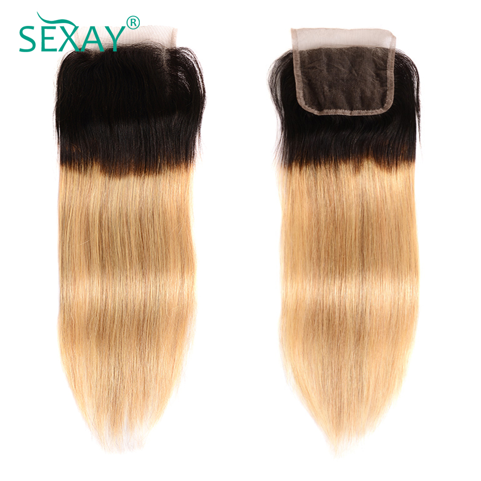Sexay 1B/27 Blonde Brazilian Straight Hair Lace Closure With Baby Hair Two Tone Ombre Color Hair Lace Closures Non Remy Hair 1PC