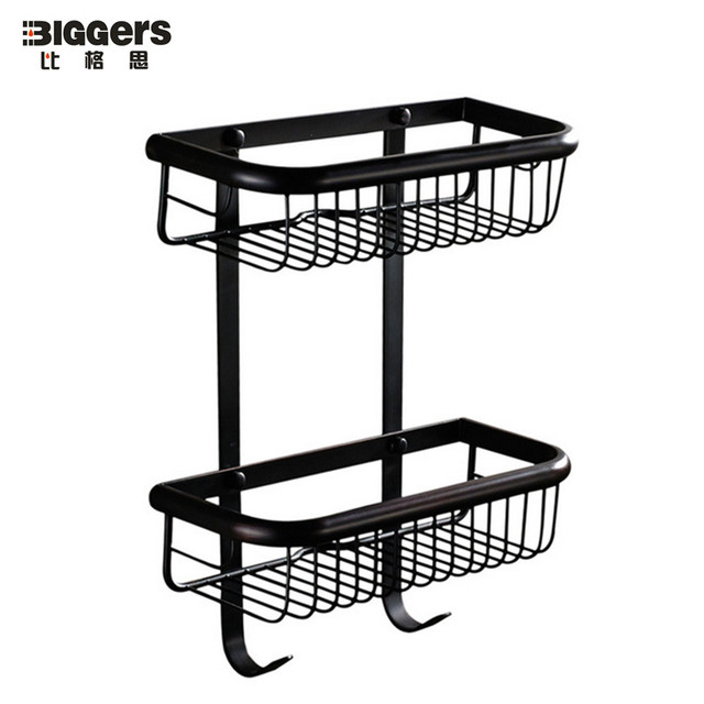 Free Shipping Gers Bathroom Wall Shelf Doule Tier Black Bronze Finish Copper Basket Racks