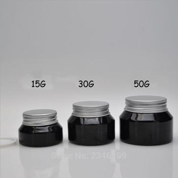 15G 30G 50G Empty Shiny Black Cream Jar with Aluminum Lid, DIY Glass Cosmetic Cream Refillable Pot, Mask Storage Box,Makeup Case