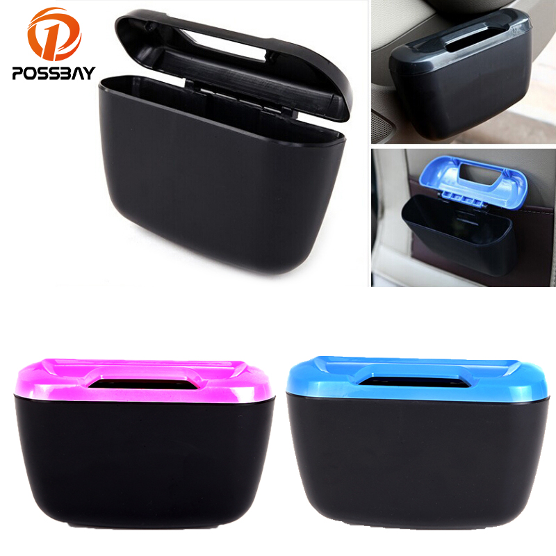 POSSBAY Car Trash Bin Auto Mini Rubbish Trash Can Pink/Blue/Black/Yellow Garbage Dust Case Box Interior Storage Garbage Bags