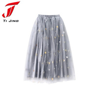 Summer Fashion Women Star Embroidery Tulle Skirt Wedding Bridesmaid Skirts Ankle-Length Lolita Mesh Petticoat Saia Faldas L338