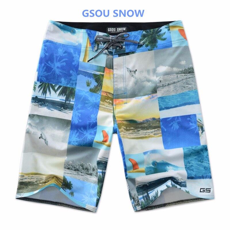 Esportes dos Homens Shorts da Praia dos Homens Roupa de Banho Gsou Neve Marca Verão Colorido Impresso Calções Rendas Mergulho Surf Shorts 2020