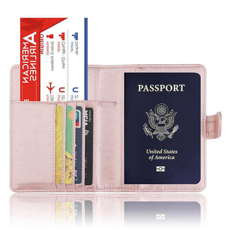 Business Card Leather Passport Holder Cover Case RFID Blocking Travel Protector Carteras Mujer D30 Mar1