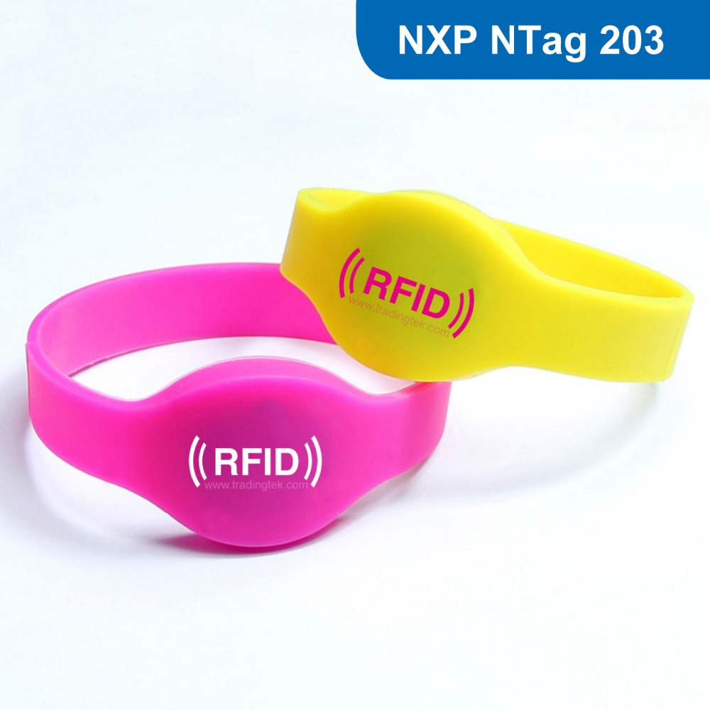 NEW RFID adjustable Silicone Wristband/bracelet Tag for swimming pool with Ntag  203 Chip Free Shipping