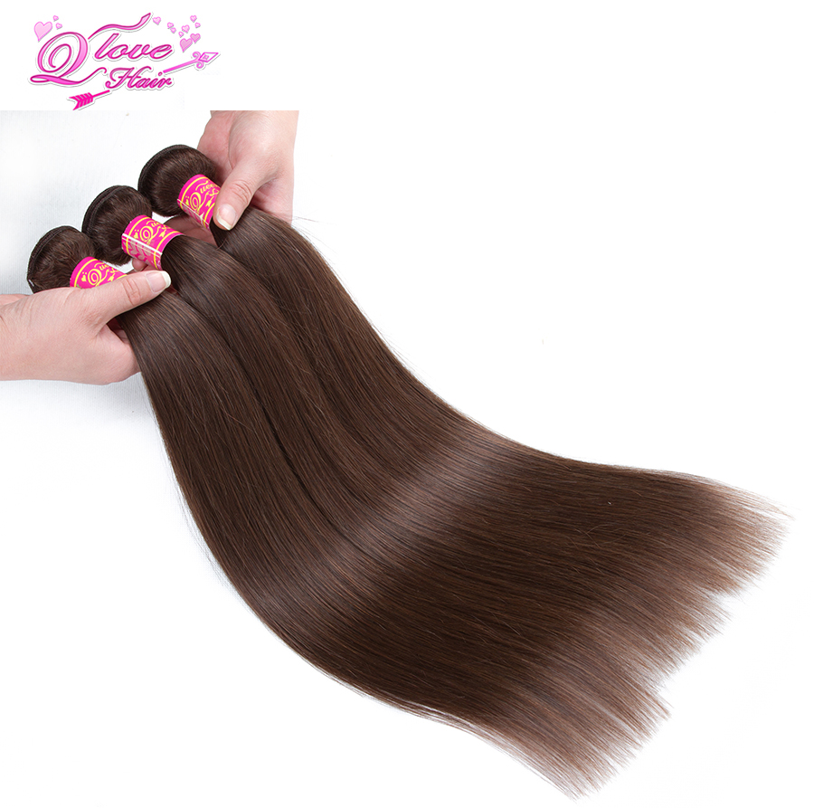 Queen Love Hair Pre-Colored Peruvian Straight Hair Weave Bundles Color 4 Dark Brown Colored Non-Remy Human Hair Extensions