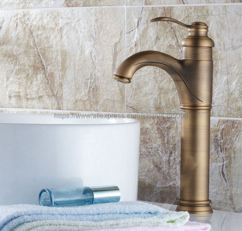 Basin Faucets Antique Brass Bathroom Basin Sink Faucet Single Handle Single Hole Mixer Tap Deck Mounted Bnf118Basin Faucets Antique Brass Bathroom Basin Sink Faucet Single Handle Single Hole Mixer Tap Deck Mounted Bnf118