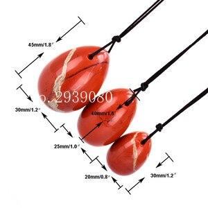 Image 3 - 3 pièces naturel rouge Jasper Yoni oeuf Massage pierre Jade oeufs pour les femmes Kegel exercice rétrécissement des muscles vaginaux Ben Wa balle