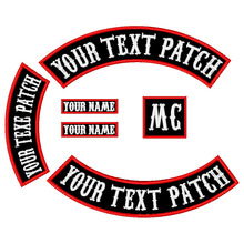 6PCS 350MM Wide Font Patch Custom Embroidered Rocker Iron/Sew on Patch Jacket Rider Motorcycle Biker Patch for back  Name Patch