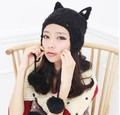 2016 Nobel Women's Hats Cat Shape Knitting Wool Beanie Hat for Women Cute Solid Wool Pom Pom with Ear Muff Hedging Cap