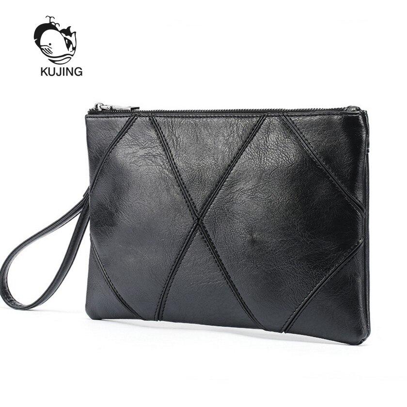 KUJING Brand Briefcase High Quality Men's Business Handbag Hot Mobile Phone Change Envelope Bag Cheap Travel Casual Hand Men Bag