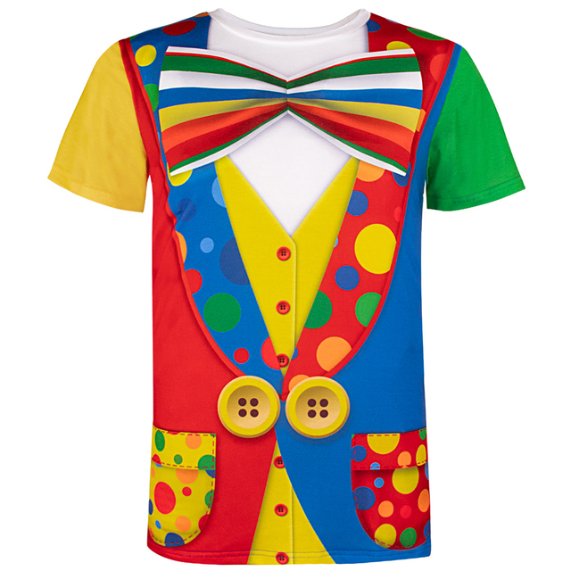 Mens Clown Costume Funny 3D T Shirt Themed Party Carnival Birthday Novelty Tee Top For