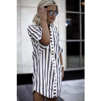 2018 New Fashion Women Black White Striped Dress Casual Flare Half Sleeve Loose O Neck Dresses Women Summer Button Shirt Dress 1