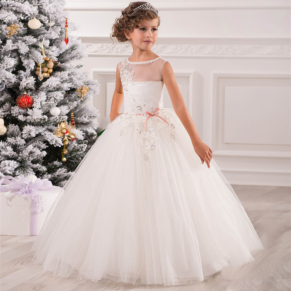Flower Girl Dresses for Weddings Pink Tulle Ball Gown Ankle Length Diamonds Sash Sleeveless O-Neck Lace Up Flower Girl Dresses vintage flower girl dresses for wedding jewel neck ankle length girls pageant gown with lace beaded sash backless communion gown