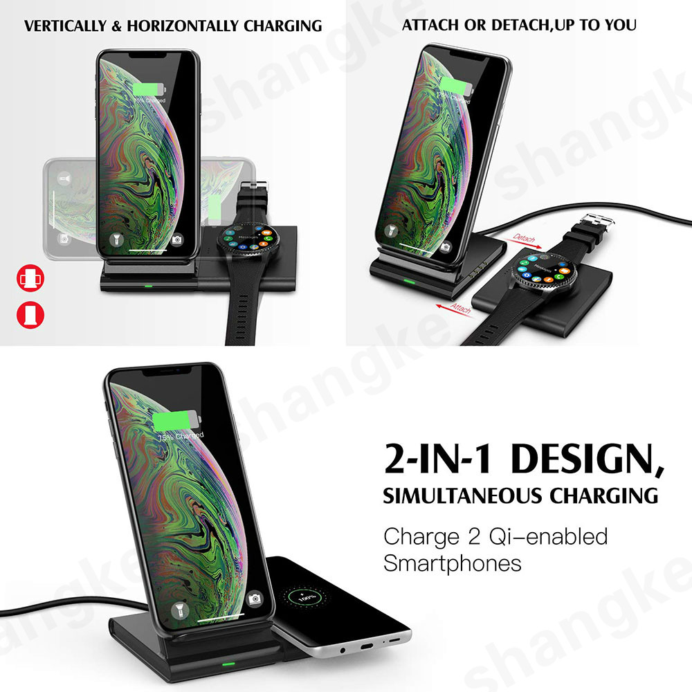 Image 2 - Wireless Charger for Samsung Galaxy Watch 42m/ 46mm S2 S3 S4 iPhone Xs X Galaxy S10 S9 S8 Mobile Phone Wireless Charger Pad 10W-in Wireless Chargers from Cellphones & Telecommunications