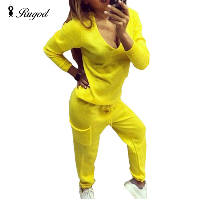 2018 Casual Tracksuit Women 2 Pieces Set Knitted Pullover Sweaters Tops Deep V-neck Long Sleeve Sweatshirt + Pants Women's Sets