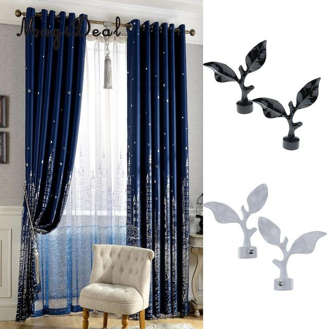 2 Pairs Decorative Leaf Window Curtain Pole Rod End Cap Final Head Compatible With 28mm Dia