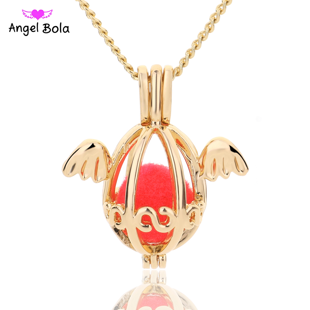 10pcs/lot Angel Bola Jewelry Yoga Aromatherapy Essential Oils Surgical Perfume Diffuser Necklace Drop Shipping L178