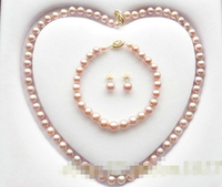 07876 Lavender Grade Akoya Pearl Jewelry Set Necklace Bracelet Earring (A0423)