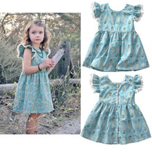 Summer new girls flying sleeves short-sleeved dress infant blue peacock feather print lace girl baby summer clothes