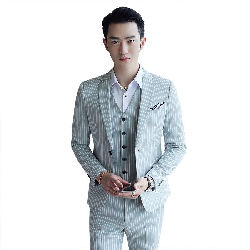 Loldeal мужской повседневный Стильный костюм Блейзер куртка + жилет + брюки мужской костюм в тонкую полоску
