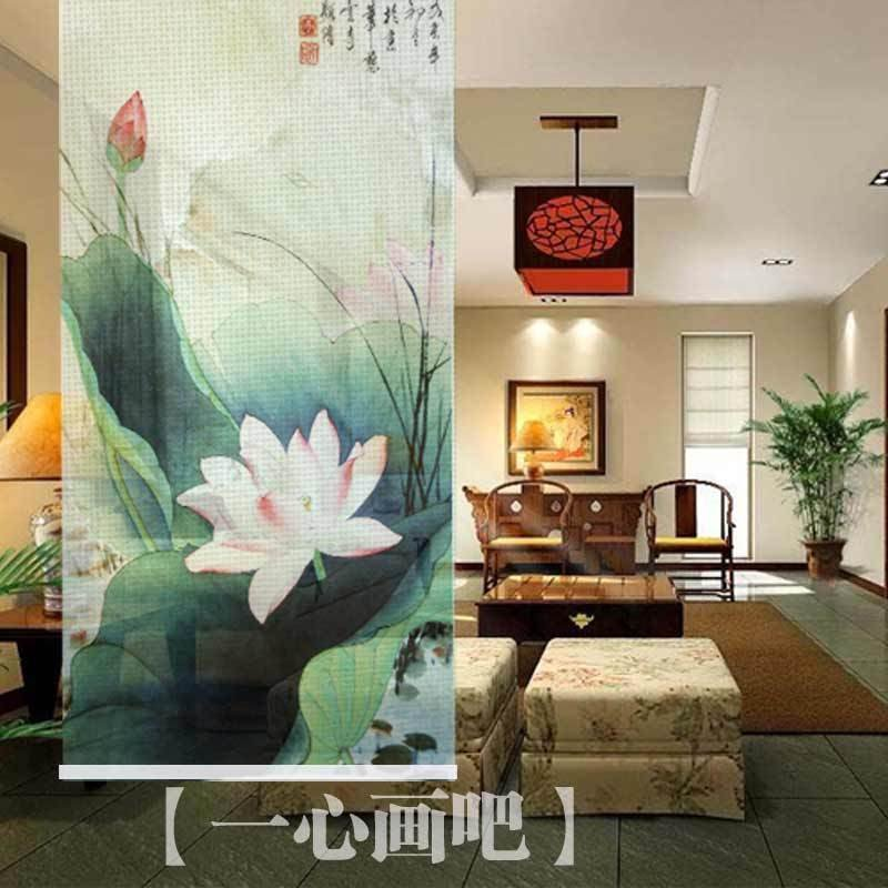 Traditional Chinese Paintings Blossom Lotus For Multi Purpose Home Decor Room Sreen Divider Hanging Fabric Painting 100cmx200cm In Painting Calligraphy