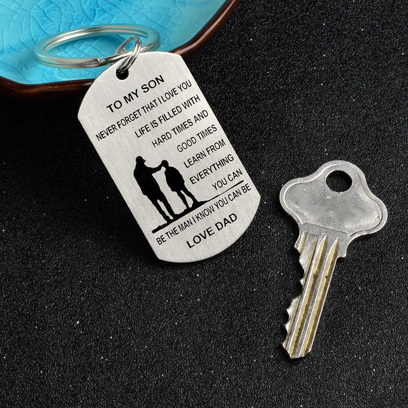 พวงกุญแจสำหรับลูกชายลูกสาวจากพ่อและแม่สแตนเลสทหารจี้ Keyring เด็กวันของขวัญแหวน
