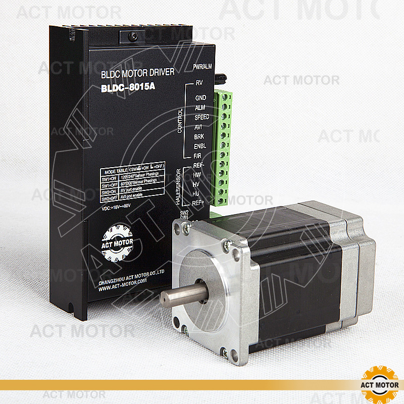 ACT Motor 1PC Nema23 Brushless DC Motor 57BLF02 24V 125W 3000RPM 3Ph Single Shaft+1PC Driver BLDC-8015A 50V CNC Router Plasma bldc motor driver controller 120w 12v 30v dc brushless motor driver bld 120a