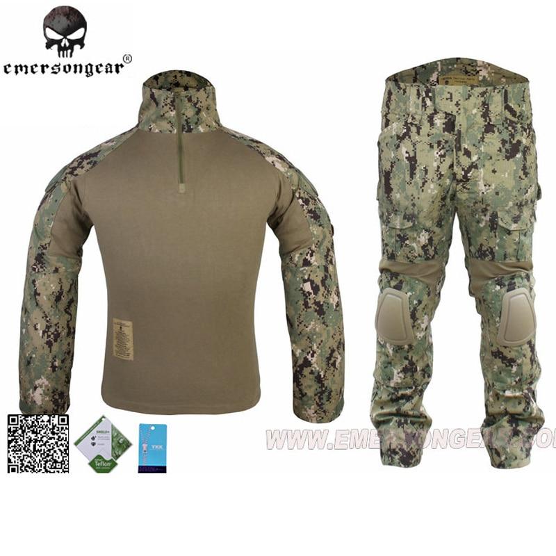 Emersongear BDU Gen2 Military Army Combat Uniform BDU G2 Combat Shirt Pants With Knee Pads Ghillie Suits AOR2 EM6924 new emersongear tactical woman g3 combat uniform pants