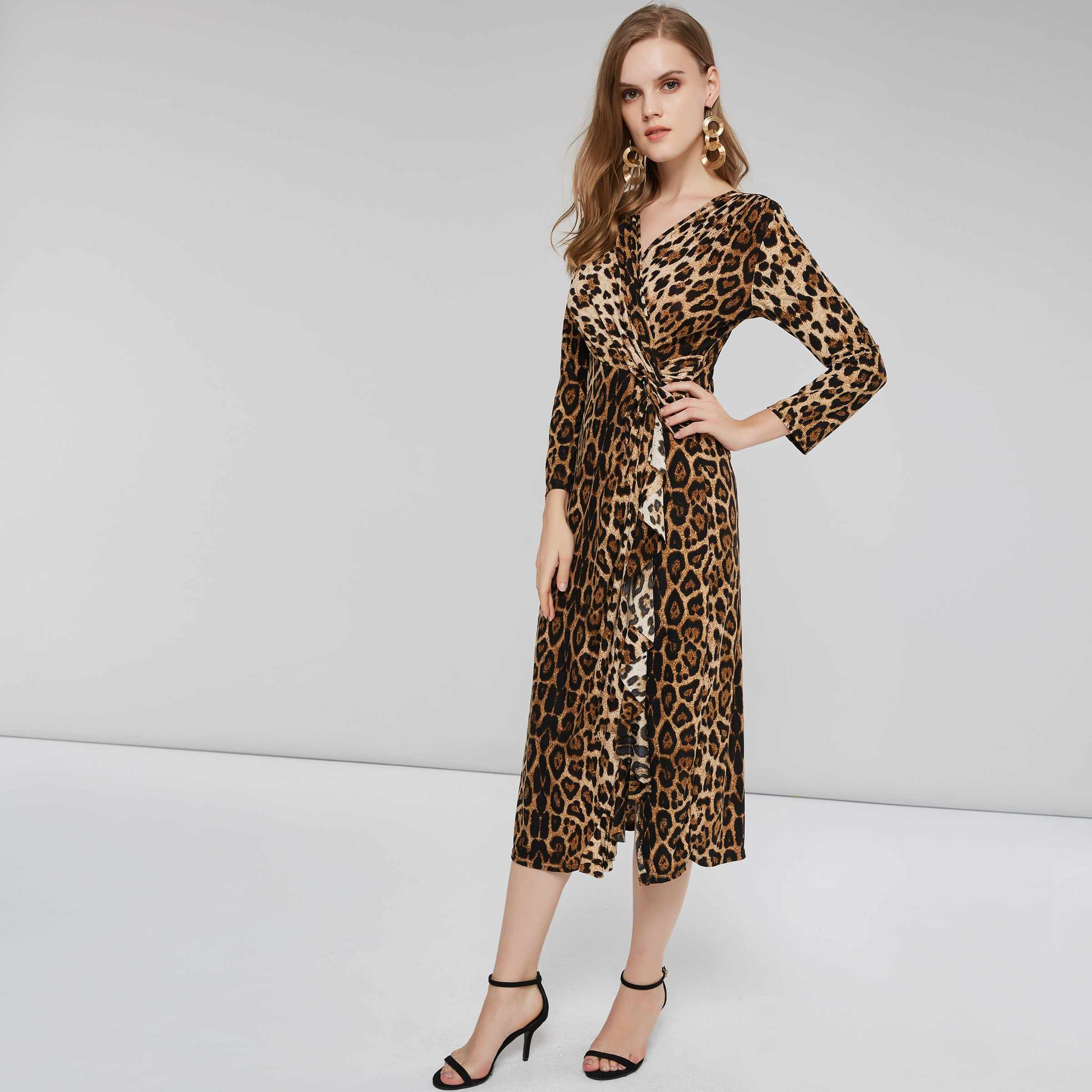 2b93b506cc100 Sisjuly Spring Winter Work High Street Cocktail Party Club Date Night Plus  Size Women Ruffle Dresses Loose Golden Leopard Dress
