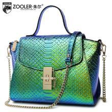 Women genuine leather bag fashion luxury handbags women bags designer Gradient green serpentine women leather handbags
