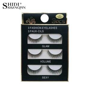 Image 5 - SHIDISHANGPIN 1 box mink eyelashes natural long 3d mink lashes short  Cross Messy false eyelash 8mm 3 pairs mink eyelashes X05