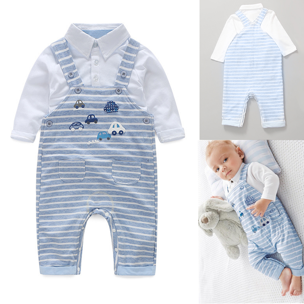 Baby T-shirt+ Pants Set Toddler Baby Long Sleeve Cotton Tops Stripe Suspenders Pants Clothes Outfit Set 0 to 18 Months newborn baby boy clothes set cotton long sleeved party letter t shirt stripe pants 2pcs