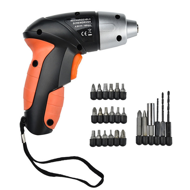 24 Uds 4,8 V eléctrico recargable ligero destornillador inalámbrico juego de brocas cargador EU destornillador eléctrico